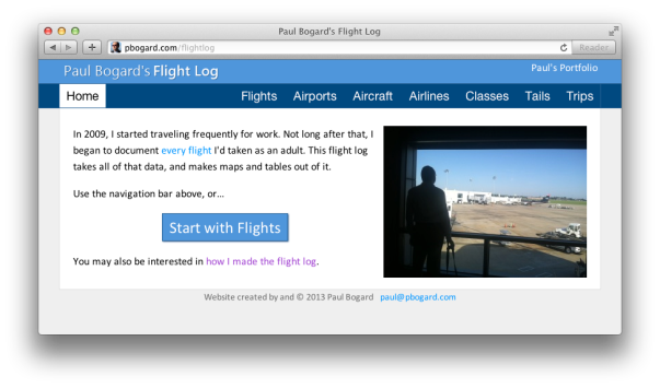 Screenshot of Paul Bogard's Flight Log
