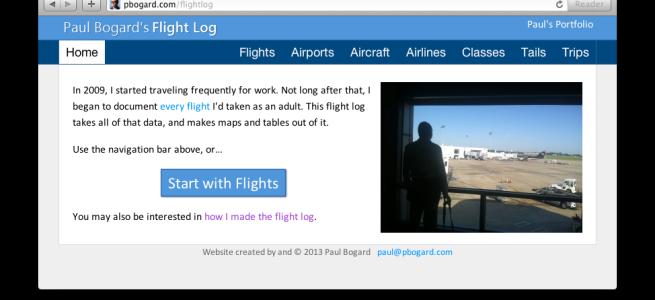 Screenshot of Paul Bogard's Flight Log