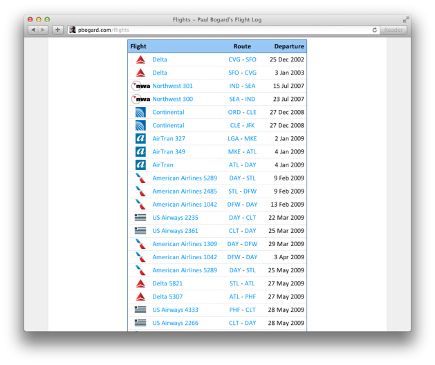 Screenshot of a list of flights