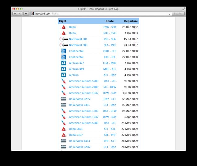 Screenshot of a list of flights