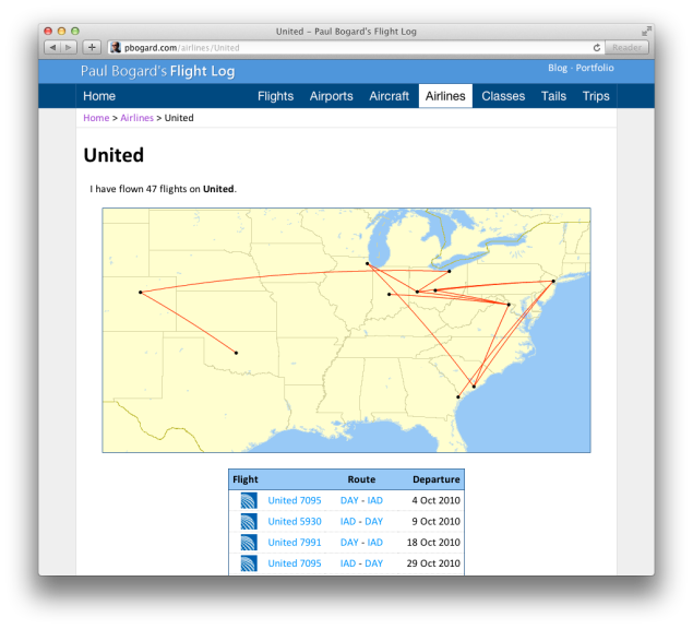 Screenshot of the United Airlines details page