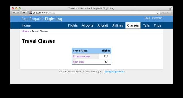 Screenshot of the flight log class listing
