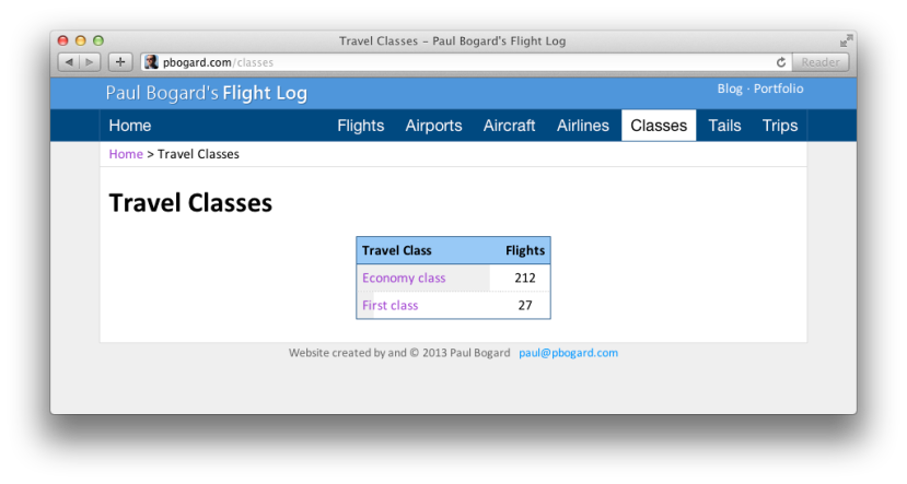 Screenshot of the flight log class listing