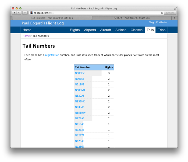 Screenshot of the flight log tail number listing