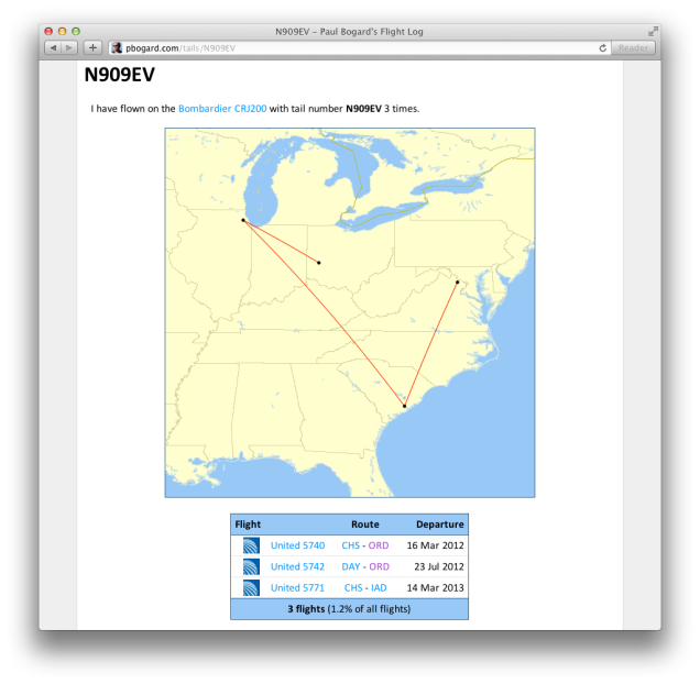 Screenshot of the flight details for tail N909EV