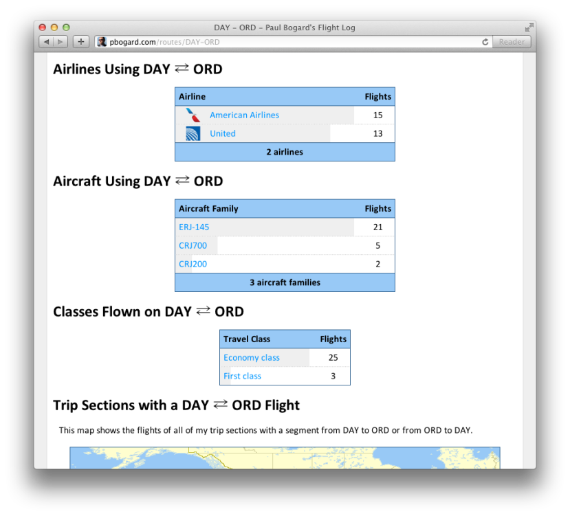 Screenshot of the Show Route page for DAY - ORD