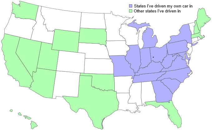 US map with highlighted states