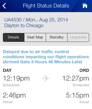 Screenshot of United's iPhone app showing late arrival