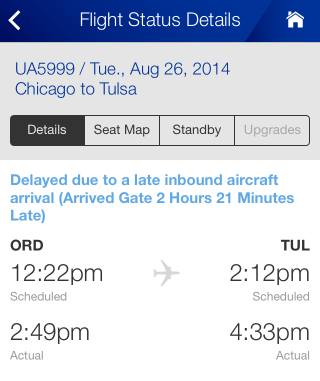 Screenshot of United app showing delay for Tuesday flight