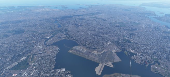 Screenshot from Flight Simulator 2020 showing LGA and JFK