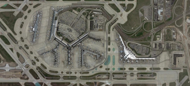 Satellite imagery of Chicago O'Hare's terminals