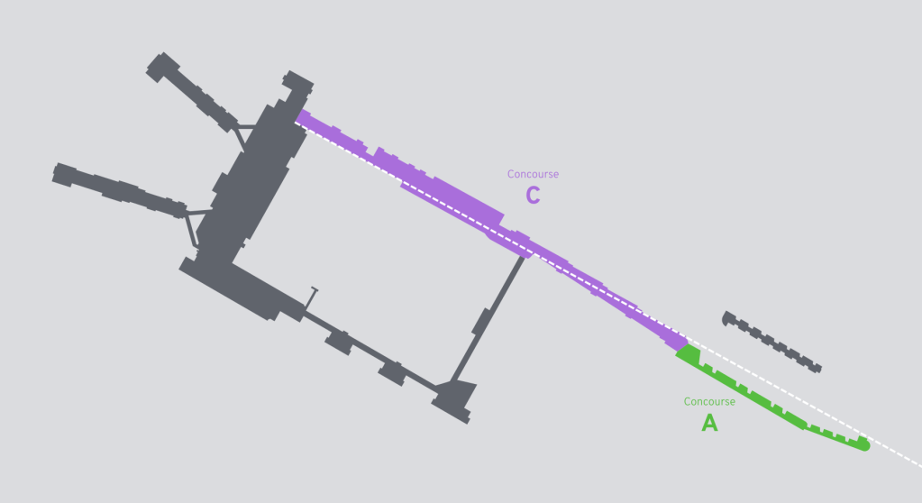 Diagram showing the locations of MSP concourses A and C