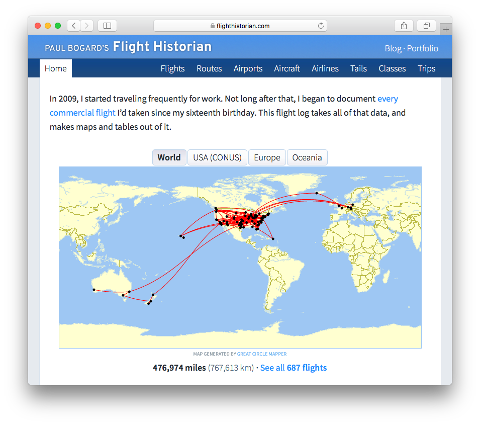 Screenshot of Flight Historian, showing the new map region tabs.
