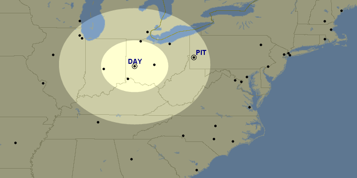 Great Circle Mapper map showing airports within a 120 and 270 mile radius ring around DAY. DAY and PIT are highlighted.