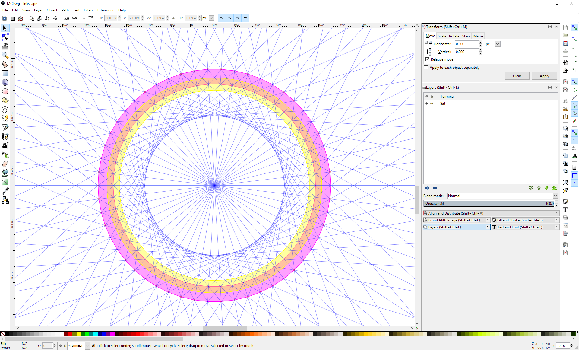 Screenshot of inkscape showing a 54-sided polygon with another 54-sided polygon cut out of it, and drawing guides overlapping it.