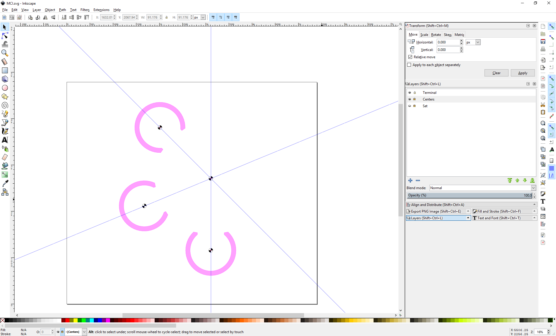 Screenshot of Inkscape showing three terminals arranged around a center point.
