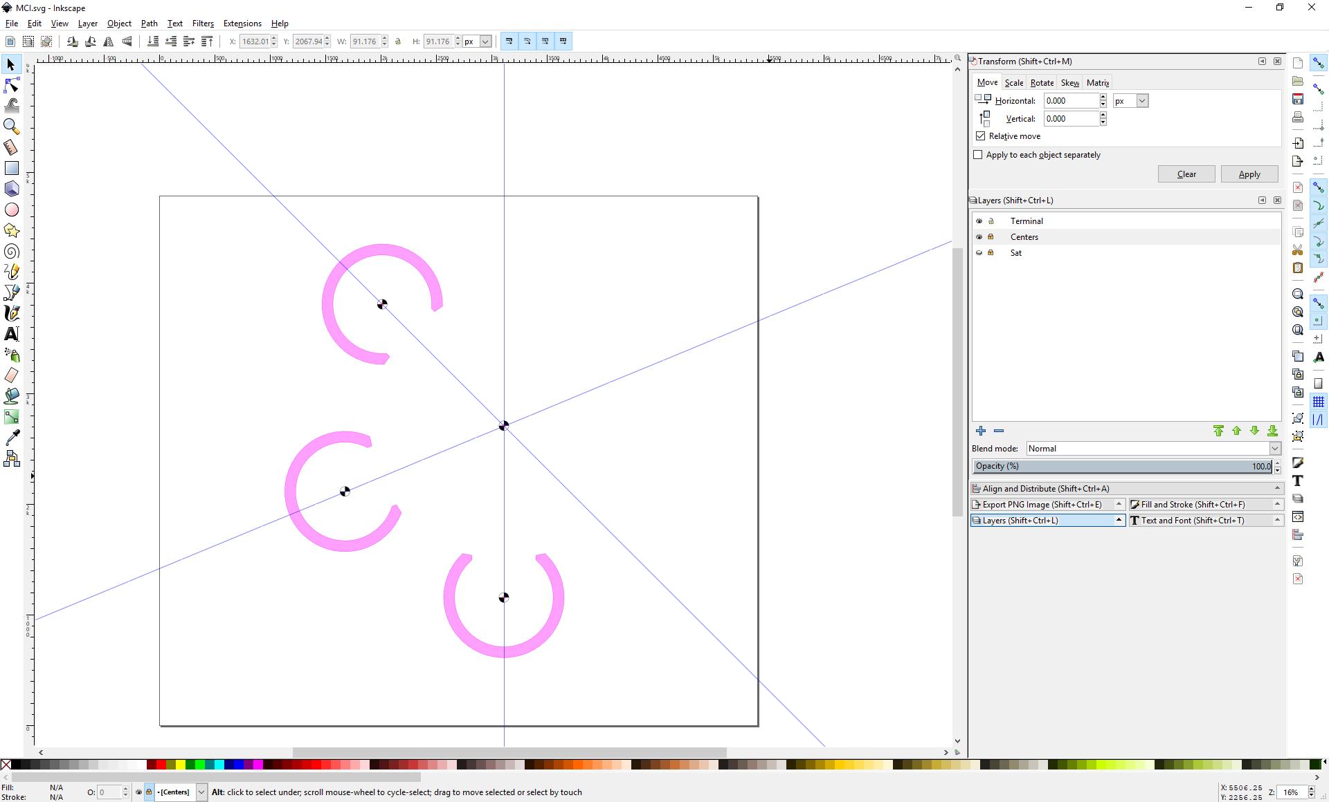 Screenshot of Inkscape showing three terminals arranged around a center point.