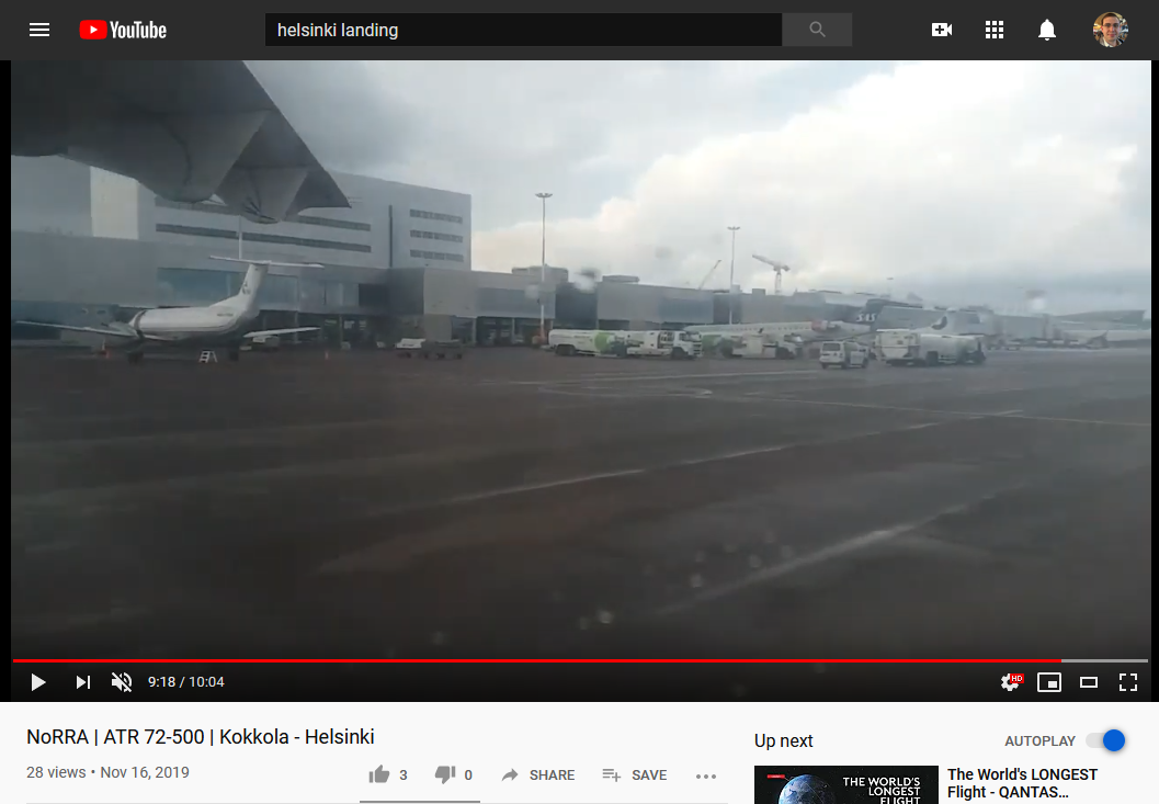 Screenshot of a YouTube video of taxiing at HEL