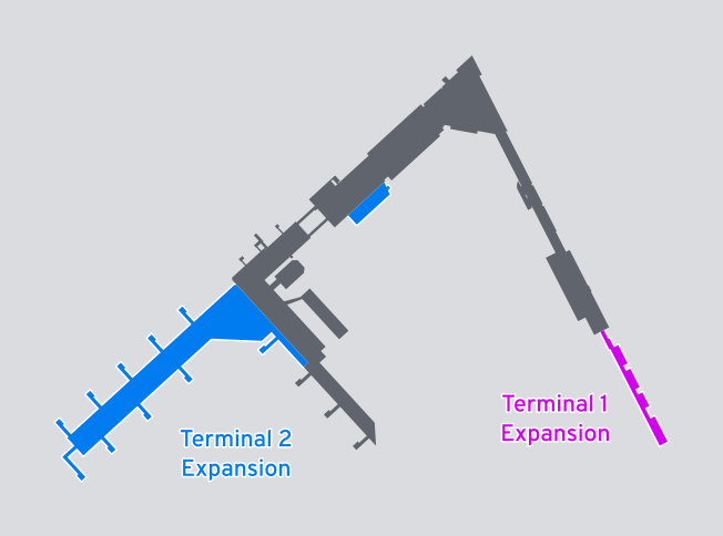HEL terminal silhouette with the expansions to Terminal 1 and Terminal 2 highlighted