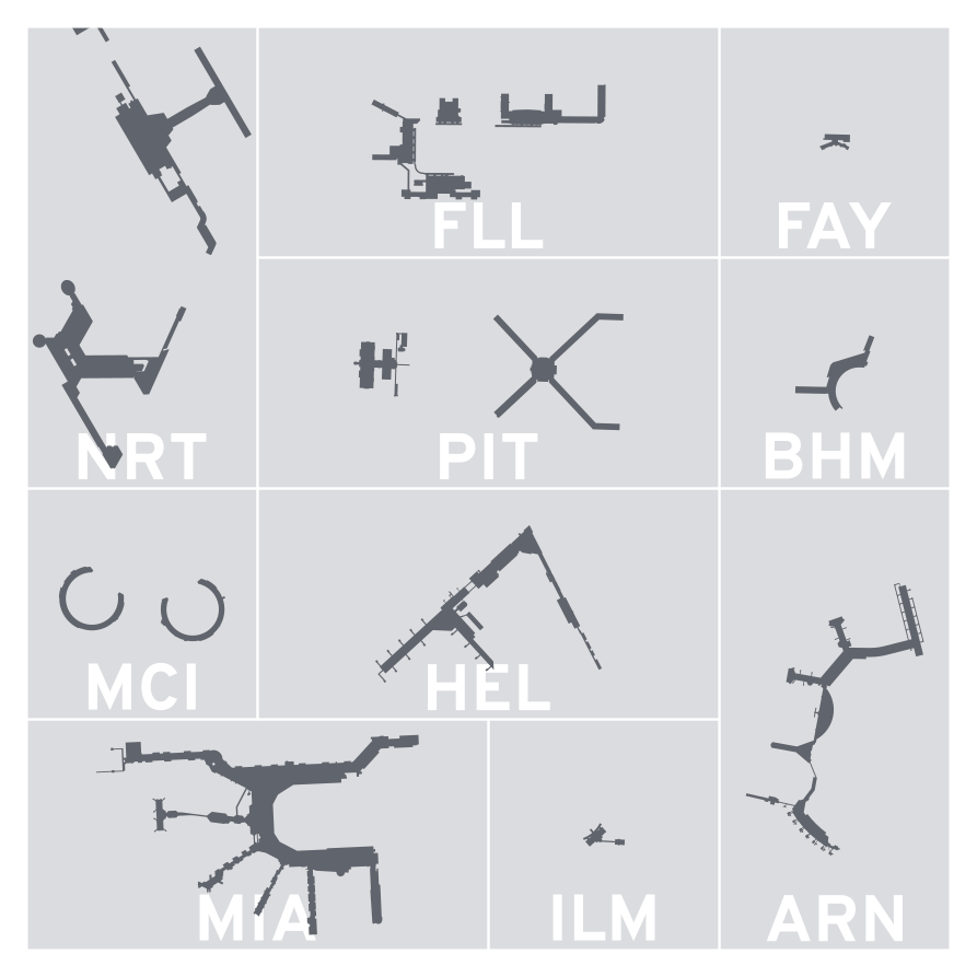 Terminal silhouettes of NRT, FLL, FAY, PIT, BHM, MCI, HEL, ARN, MIA, AND ILM