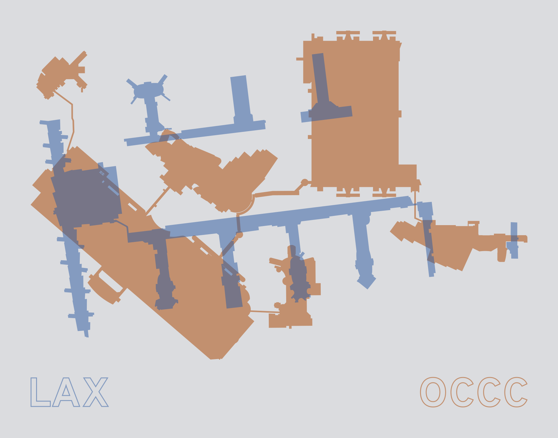 Silhouettes of the Orange County Convention Center and LAX overlaid on each other. The OCCC is slightly larger than LAX.