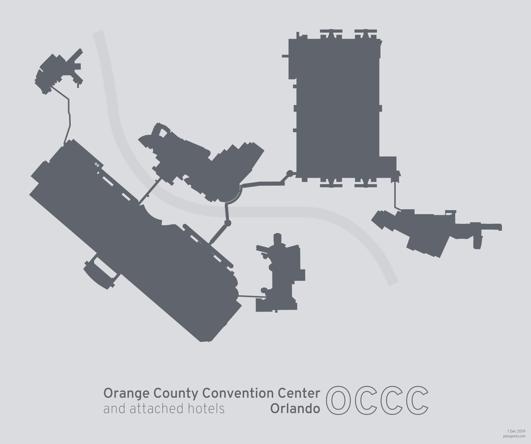 Silhouette of the Orange County Convention Center and its attached hotels, Orlando, Florida