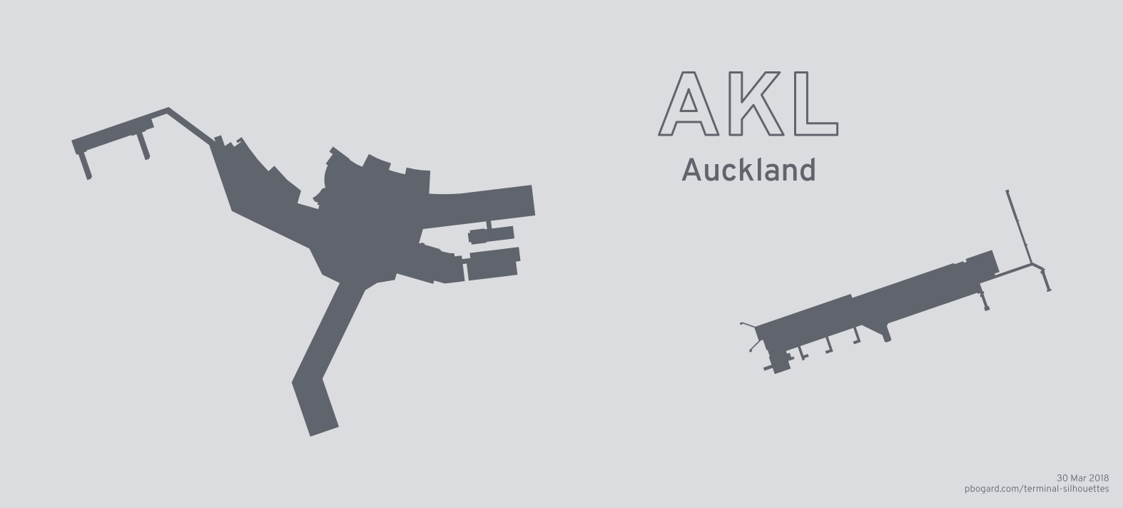 Terminal silhouette of AKL (Auckland)