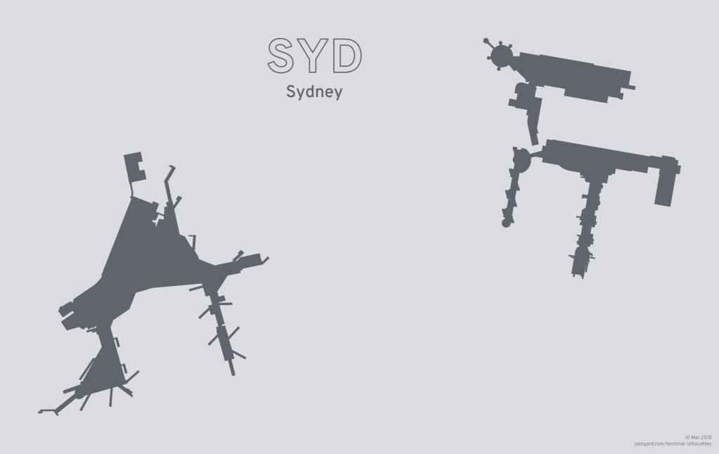 Terminal silhouette of SYD (Sydney)