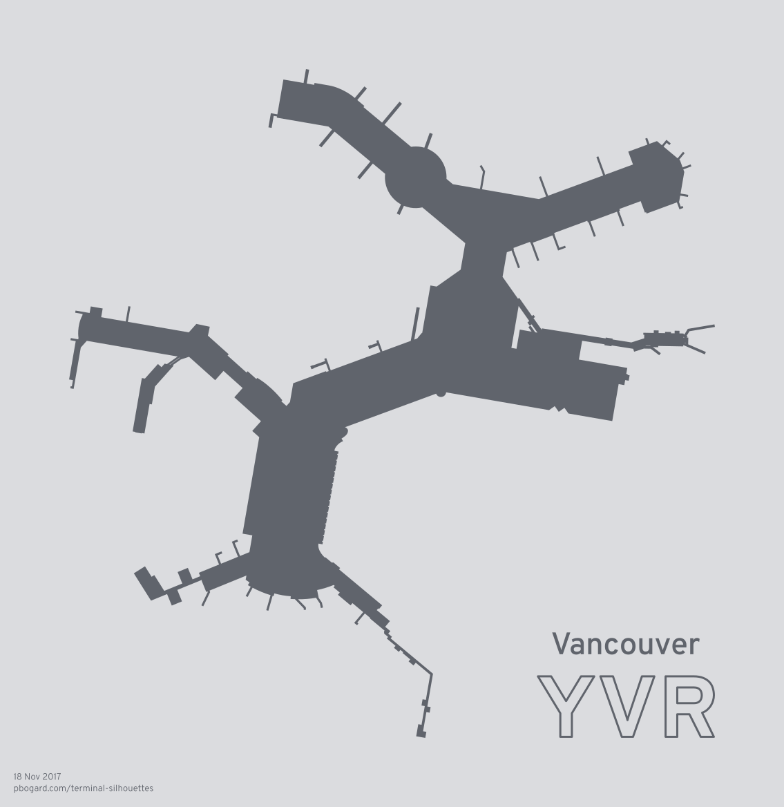 Terminal silhouette of YVR (Vancouver)