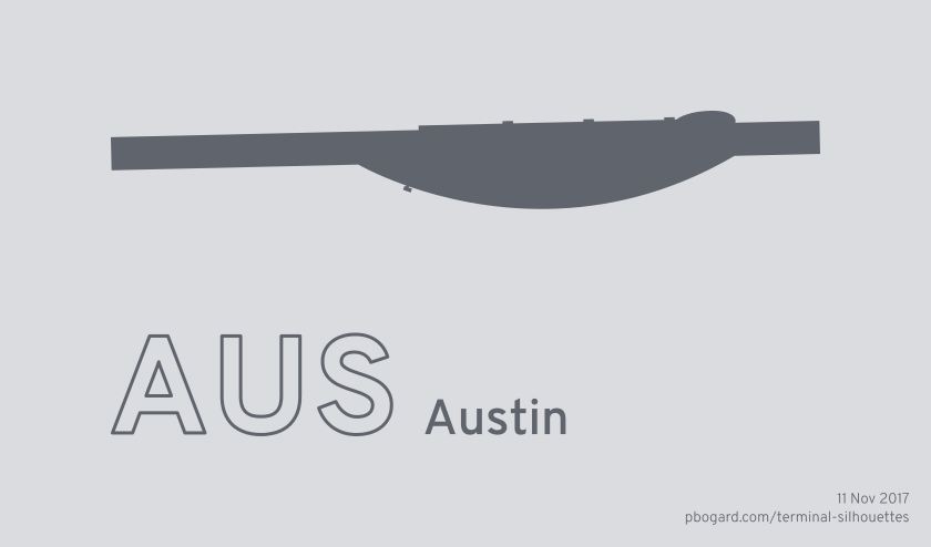 Terminal silhouette of AUS (Austin)