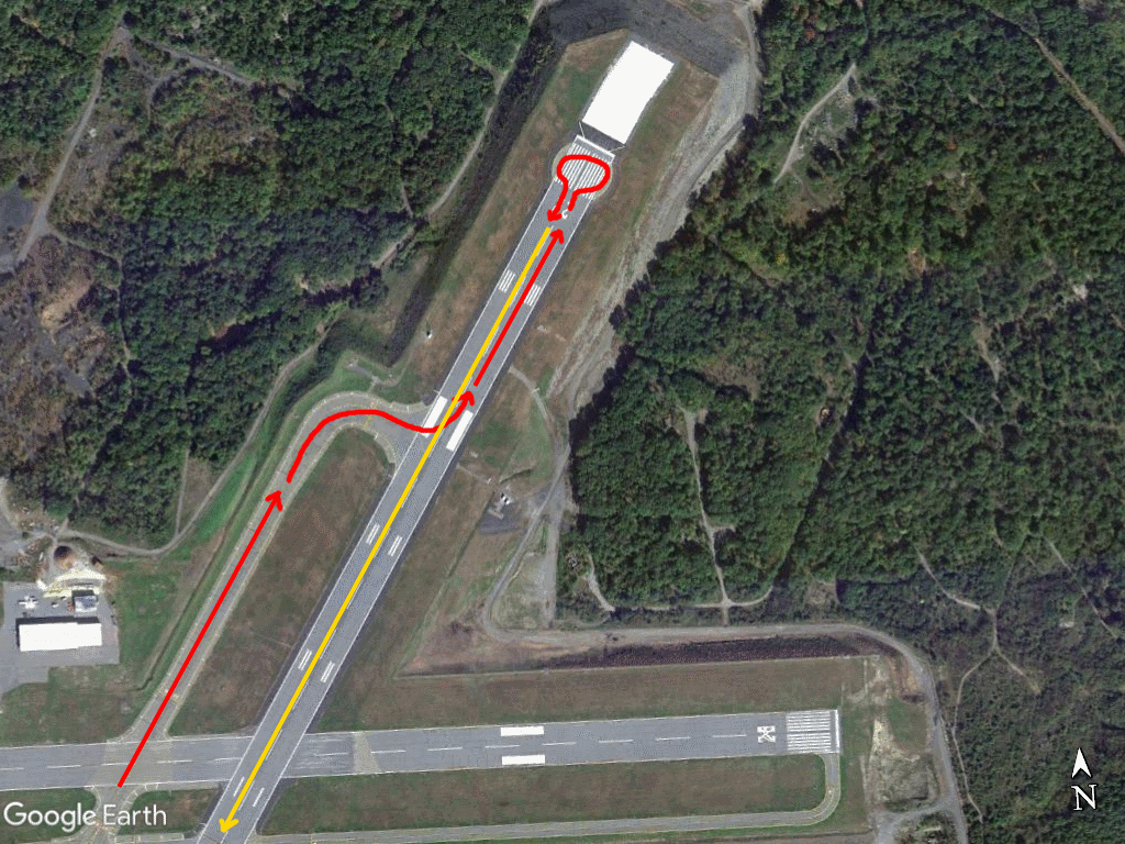 Aerial image of AVP runway 22 turnaround, showing taxi and takeoff path