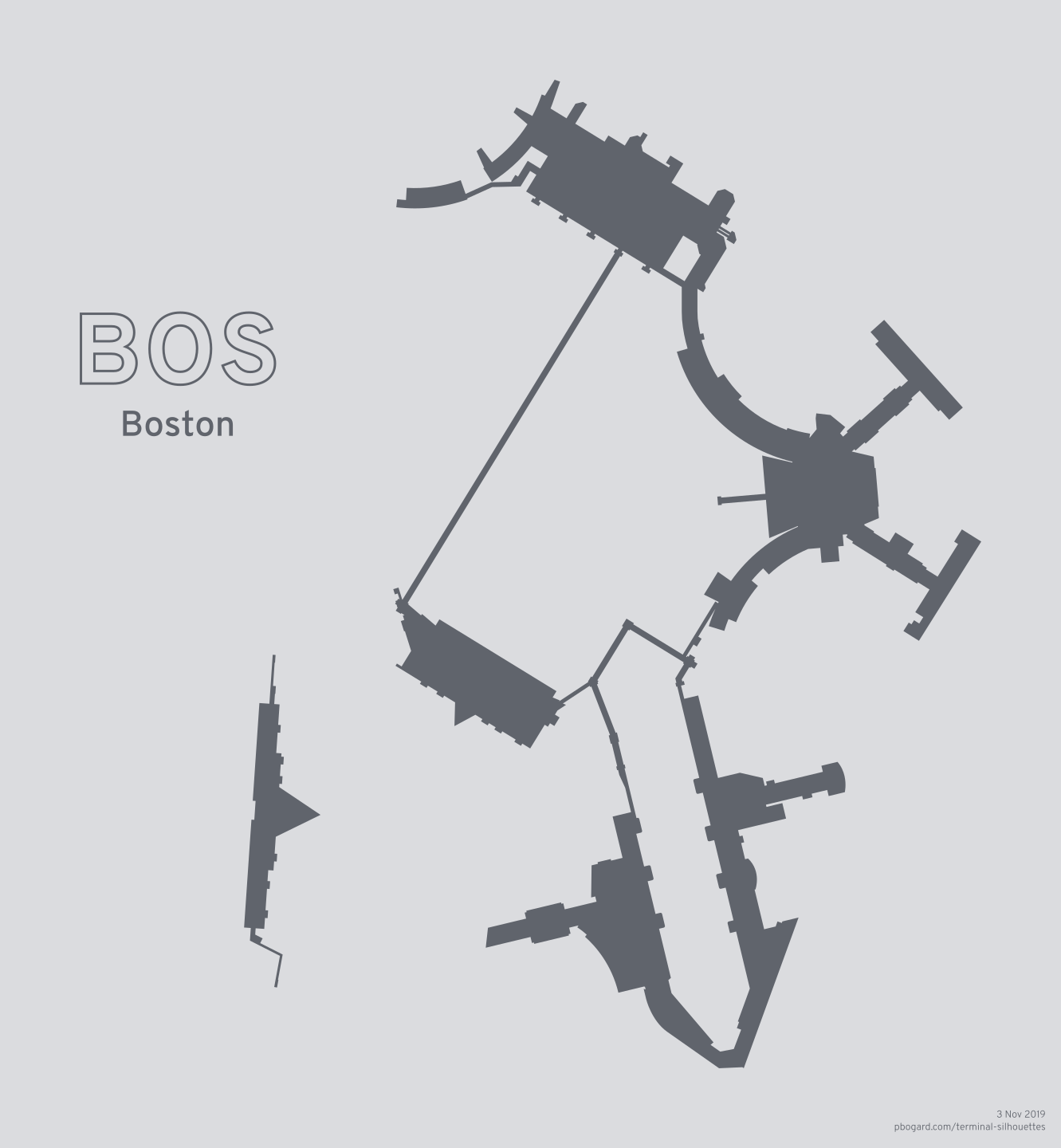 Terminal silhouette of BOS (Boston)