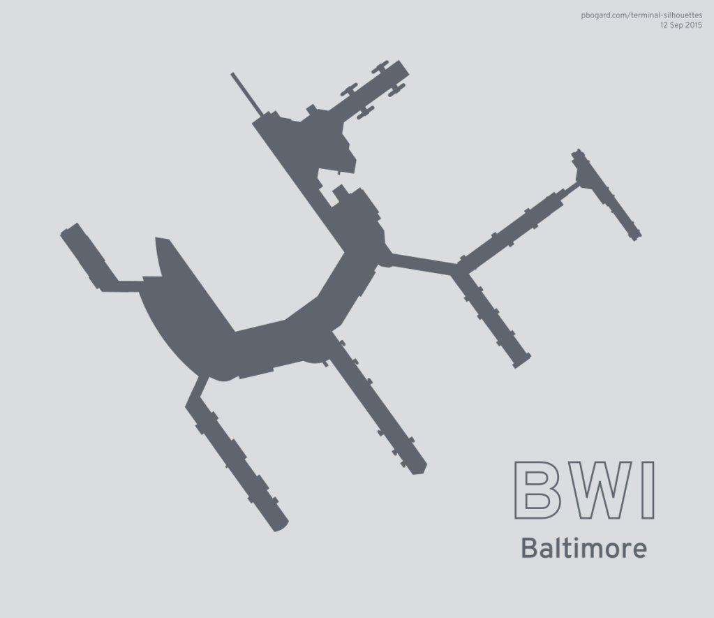 Terminal silhouette of BWI (Baltimore)