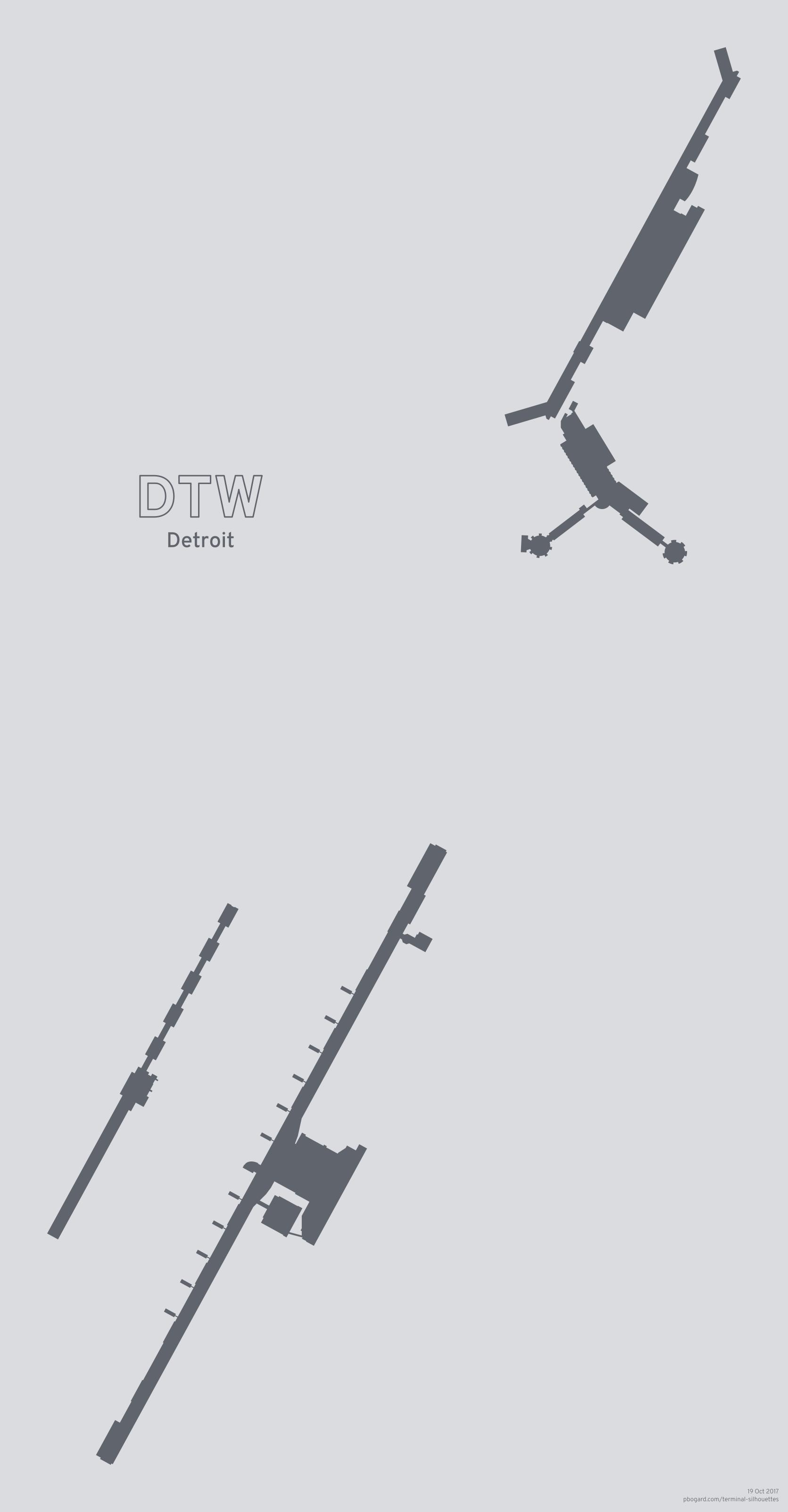 Terminal silhouette of DTW (Detroit)