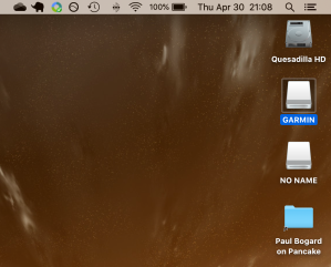 Screenshot of a MacOS desktop, with GARMIN and NO NAME external drives