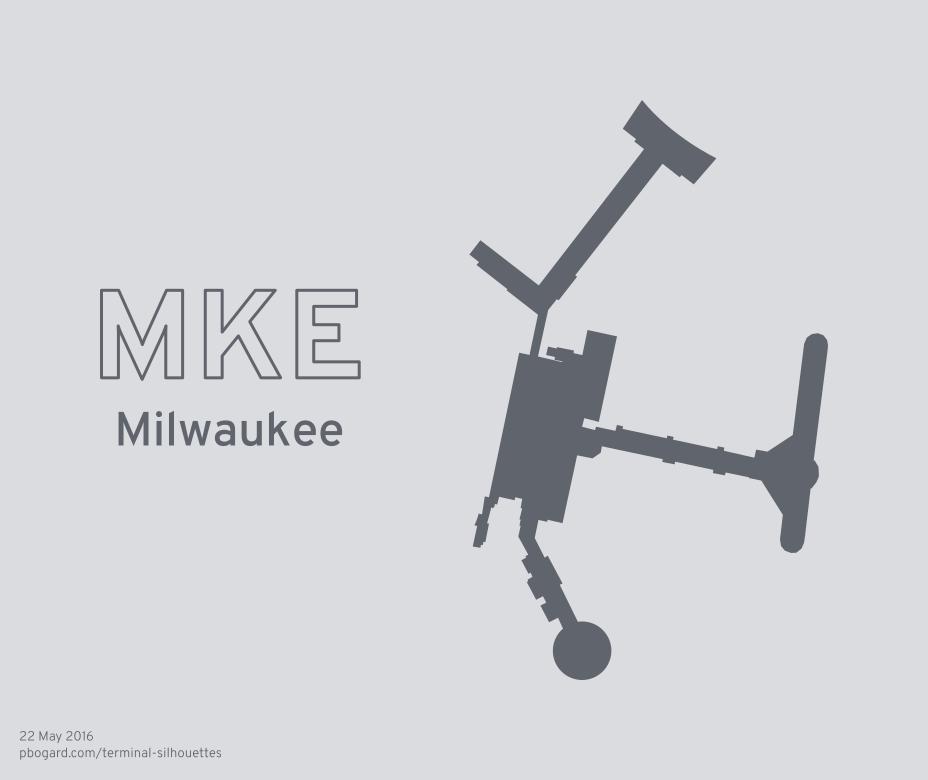 Terminal silhouette of MKE (Milwaukee)