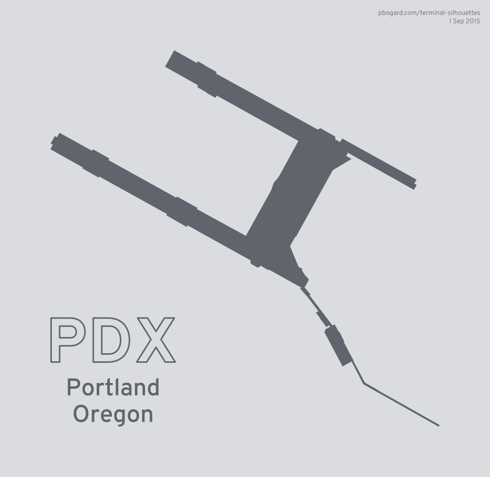 Terminal silhouette of PDX (Portland, Oregon)
