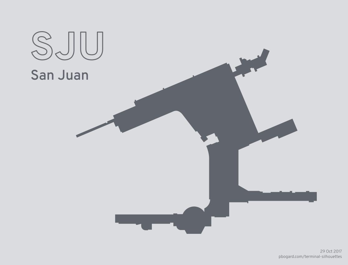 Terminal silhouette of SJU (San Juan)