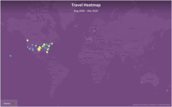 Heatmap of the world, showing Paul's time spent in various locations
