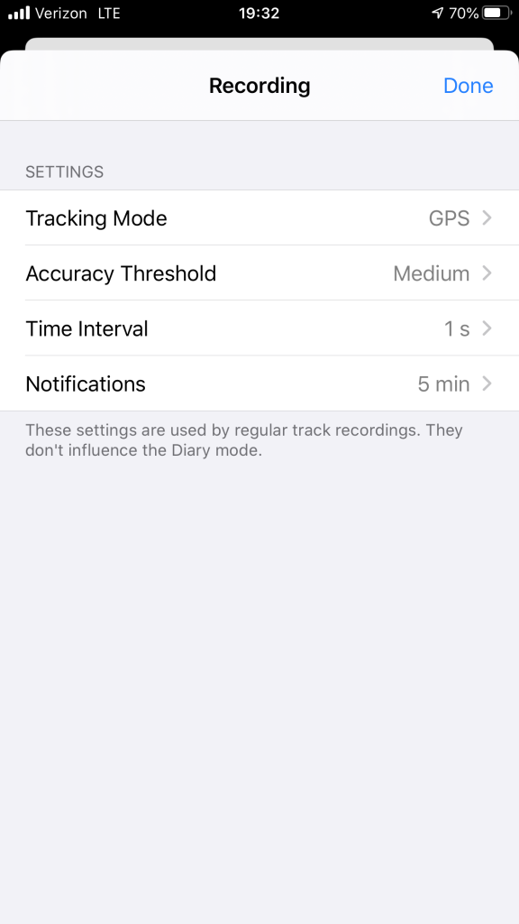 Screenshot of myTracks recording settings