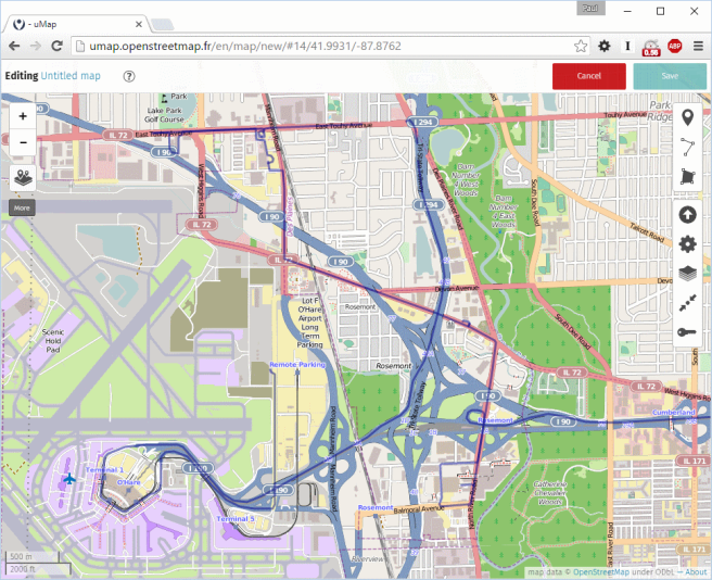 Screenshot of uMap with GPX file imported