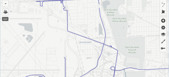 Screenshot of uMap with GPX data over the Positron map layer