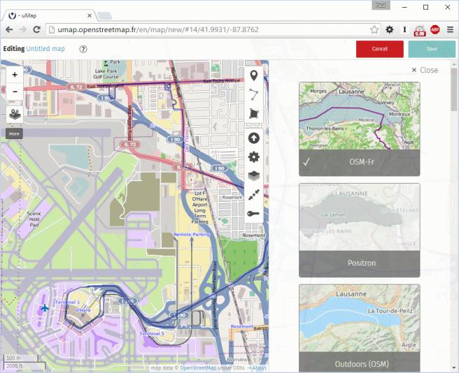 Screenshop of uMap change tilelayers menu