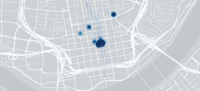 Map of downtown Cincinnati, with a heatmap overlay showing how much time I spent at every given coordinate.