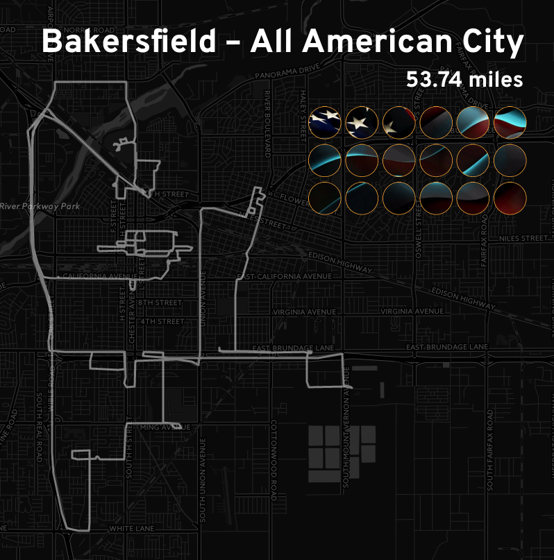 """Ingress mosaic map of the """"Bakersfield – All American City"""" mission."""
