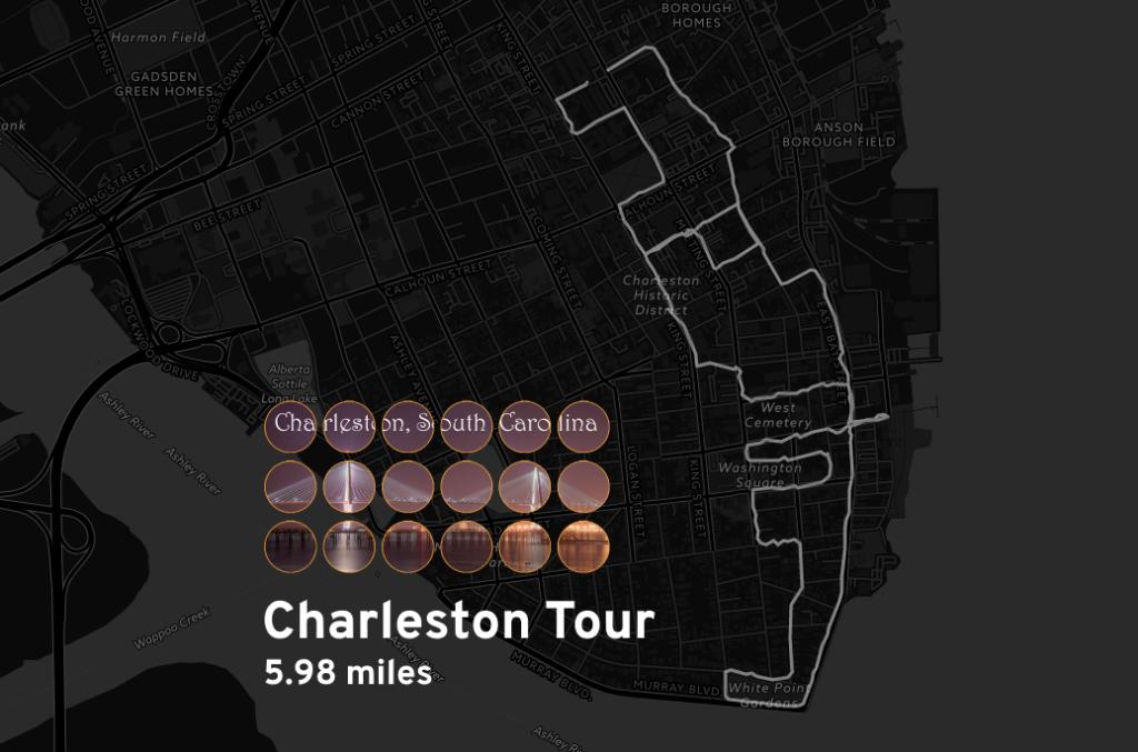 """Ingress mosaic map of the """"Charleston Tour"""" mission."""