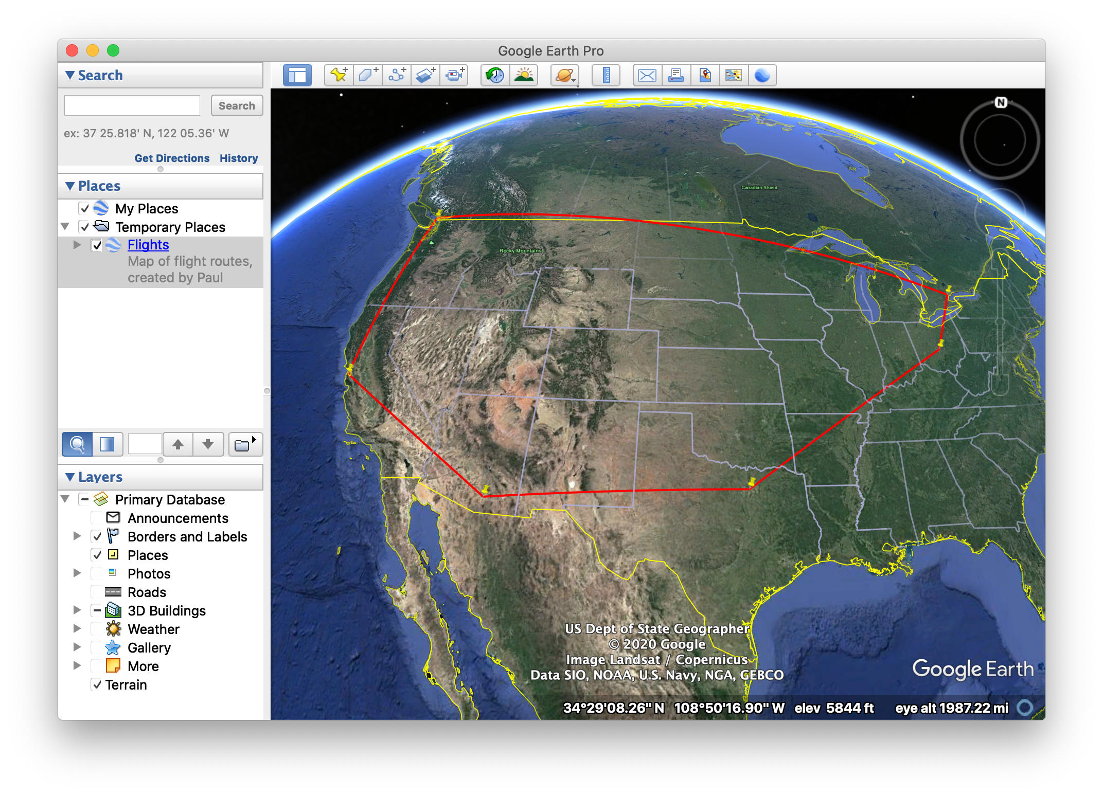 Google Earth, showing a trip from CMH-DFW-TUS-SFO-YVR-YYZ-CMH.