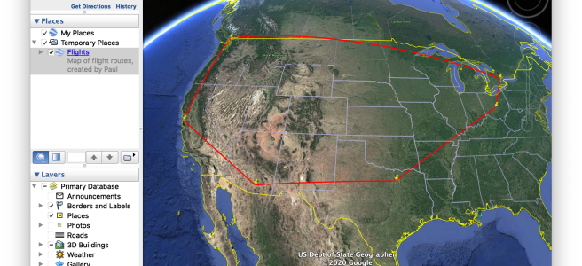 Google Earth, showing a trip from CMH-DFW-TUS-SFO-YVR-YYZ-CMH.