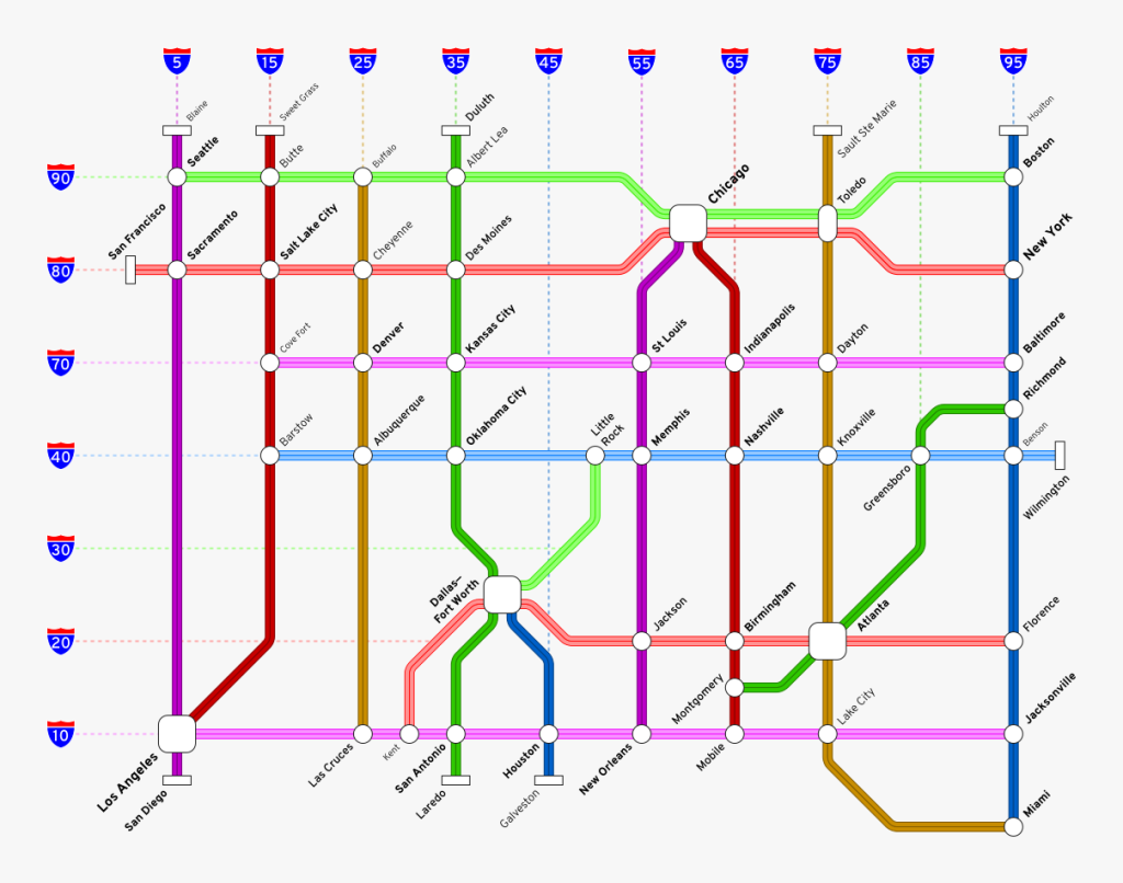 Map of U.S. Interstate highways ending in 0 or 5, formatted like a subway map.