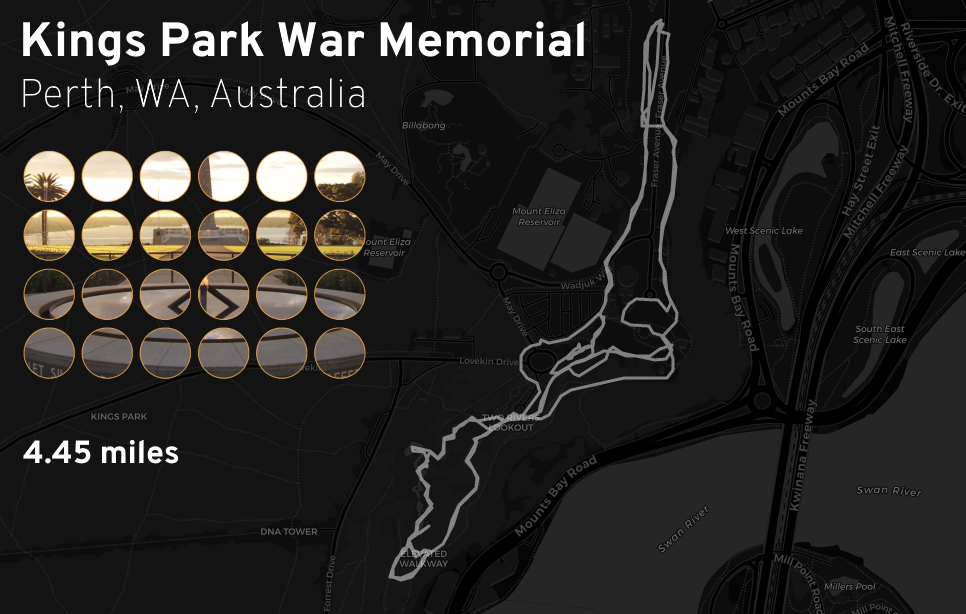 "Ingress mosaic map of the ""Kings Park War Memorial"" mission."